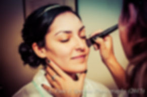 Emma has her makeup done prior to her November 2015 wedding at the Publick House in Sturbridge, Massachusetts.