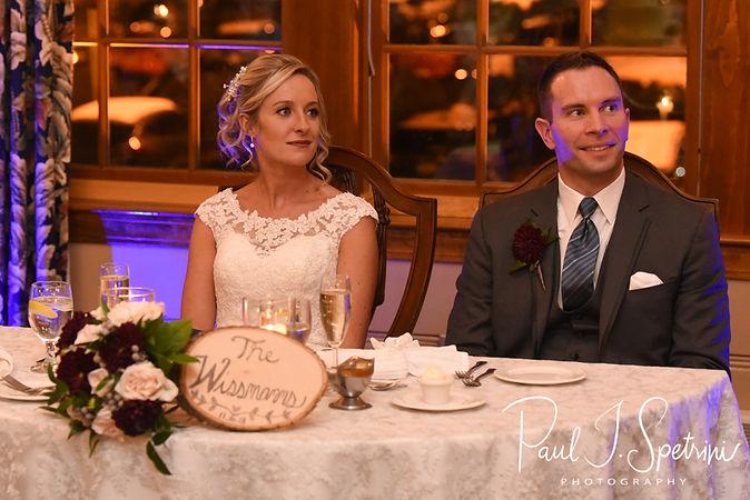 Nicole and Kurt listen to a speech during their November 2018 wedding reception at the Publick House Historic Inn in Sturbridge, Massachusetts.