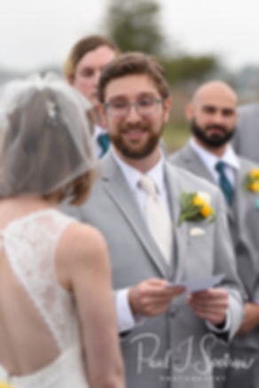 Justin reads his vows during his June 2018 wedding ceremony at North Beach Clubhouse in Narragansett, Rhode Island.