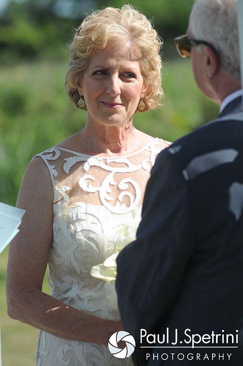 Debbie smiles at Bob during their June 2016 wedding in Barrington, Rhode Island.