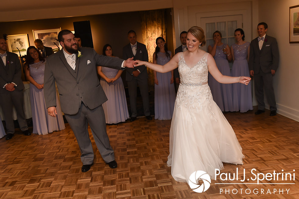 Melissa and Jordan share their first dance as husband and wife during their May 2017 wedding reception at Independence Harbor in Assonet, Massachusetts.