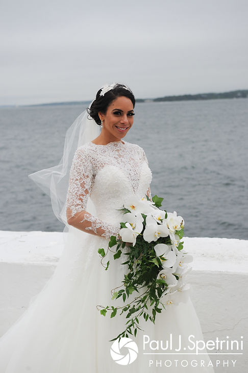 Nashua poses for a formal photo following her July 2017 wedding ceremony at Belle Mer in Newport, Rhode Island.