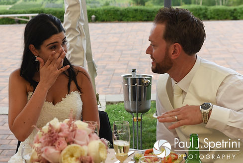 Lauryn gets emotional during her July 2016 wedding reception at the Overlook at Geer Tree Farm in Griswold, Connecticut.