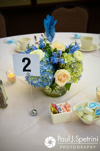 A look at the centerpieces prior to Kevin and Joanna's October 2017 wedding reception at Cranston Country Club in Cranston, Rhode Island.