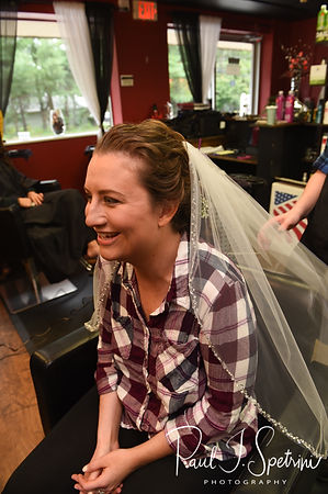 Allie smiles during her hair and makeup appointment prior to her October 2018 wedding ceremony at South Ferry Church in Narragansett, Rhode Island.