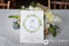 A look at the flowers and invitation for Ellen and Jeremy's May 2016 wedding at Bittersweet Farm in Westport, Massachusetts.