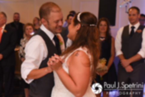 Scott and Toni share their first dance during their August 2017 wedding reception at Crystal Lake Golf Club in Mapleville, Rhode Island.
