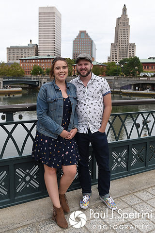 Alison and Gary pose for a photo on a bridge at Waterplace Park in Providence, Rhode Island during their September 2017 engagement session.