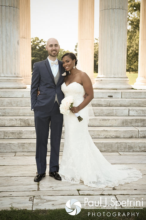 Jennifer and Mark pose for a formal photo following their September 2016 wedding at the Roger Williams Park Temple of Music in Providence, Rhode Island.