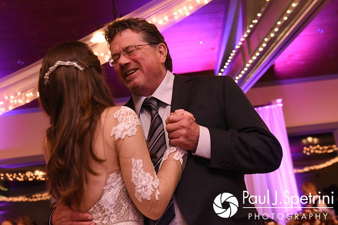 Jessica and her father dance during her October 2017 wedding reception at Crystal Lake Golf Club in Mapleville, Rhode Island.