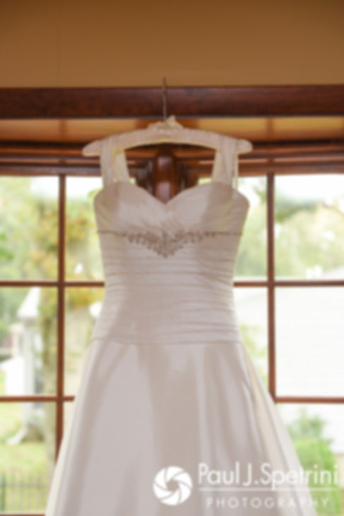 A look at Tricia's wedding dress prior to her October 2017 wedding ceremony at St. Brendan Parish in Riverside, Rhode Island.