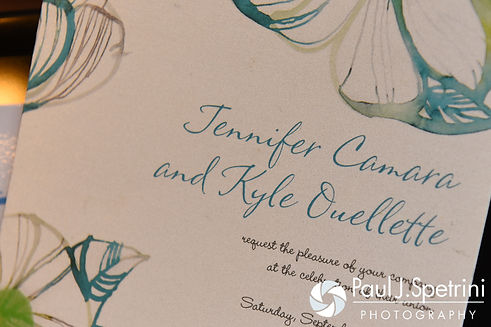 A look at Jen and Kyle's wedding invitation on display in their home prior to their September 2016 wedding at the Roger Williams Park Botanical Center in Providence, Rhode Island.