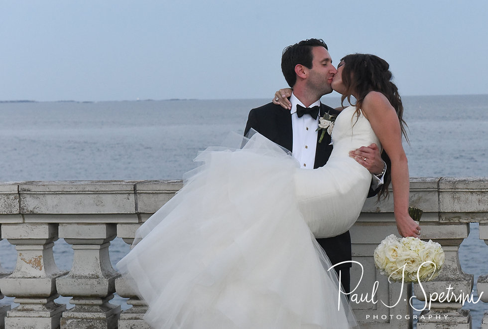 Helen & Mike pose for a formal photo prior to their September 2018 wedding reception at the Rosecliff Mansion in Newport, Rhode Island.