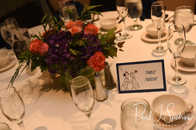 A look at the centerpieces on display A look at the place cards prior to Laura & Marijke's June 2018 wedding ceremony at Independence Harbor in Assonet, Massachusetts.