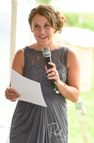 The maid of honor gives a toast during Karolyn & Ethan's August 2018 wedding reception at a private residence in Sterling, Connecticut.