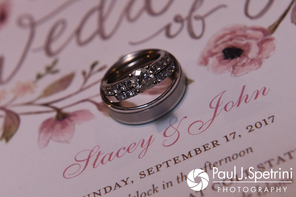 A look at Stacey and John's wedding rings, shown during their September 2017 wedding reception in Warren, Rhode Island.
