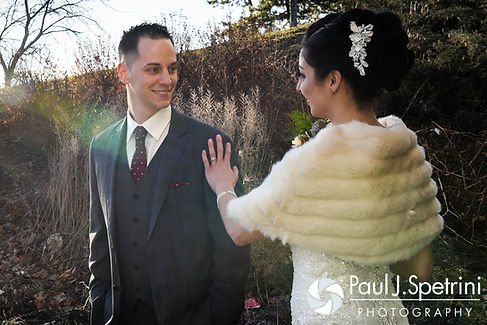 David turns around to see Gina during their first look prior to his December 2016 wedding ceremony at the Waterman Grille in Providence, Rhode Island.
