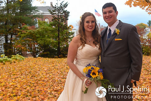 Kristin and Chris pose for a formal photo following their October 2016 wedding ceremony at Exeter Congregational Church in Exeter, New Hampshire.