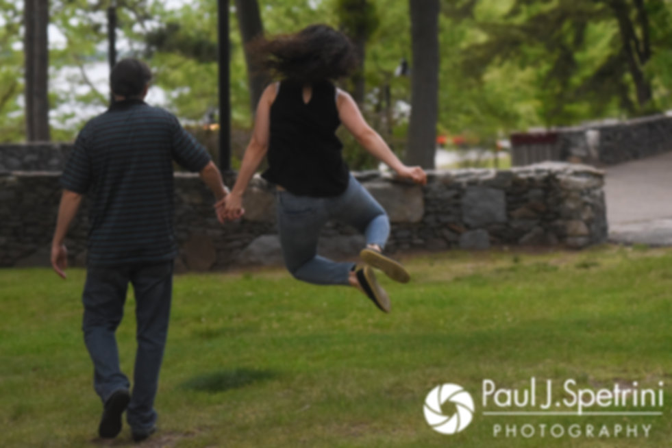 Amanda and Josh walk together at Goddard Park in East Greenwich, Rhode Island during their May 2017 engagement photo session.