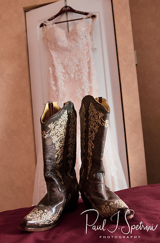 A look at Beth's wedding dress and cowboy boots prior to her August 2018 wedding ceremony at Fort Phoenix in Fairhaven, Massachusetts.