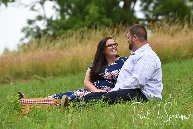 Katie & Steve pose for a photo during their July 2018 engagement session at World's End in Hingham, Massachusetts.