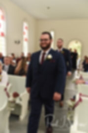Rob arrives to his October 2018 wedding ceremony at South Ferry Church in Narragansett, Rhode Island.