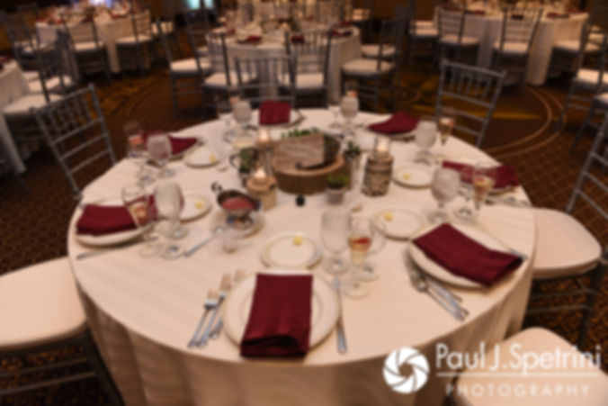 A look at the table settings prior to Dallas and Nicky's September 2017 wedding reception at the Crowne Plaza Hotel in Warwick, Rhode Island.