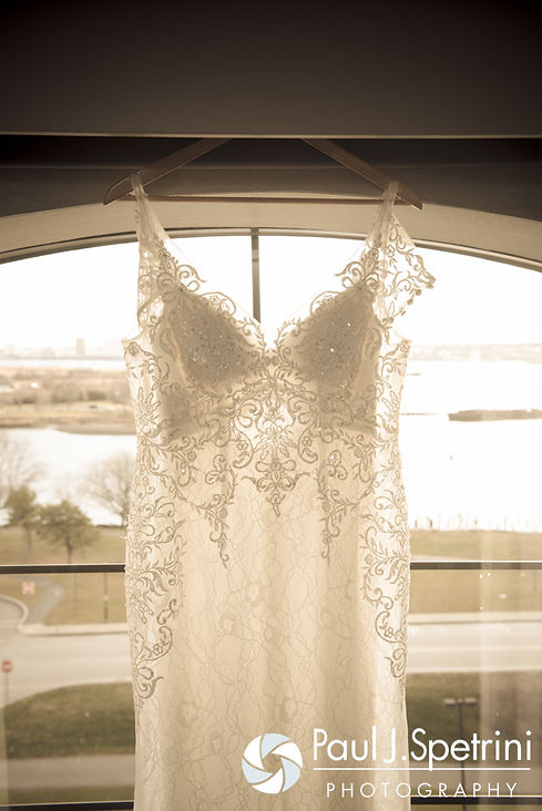 A look at Gina's wedding dress prior to her December 2016 wedding ceremony at the Waterman Grille in Providence, Rhode Island.