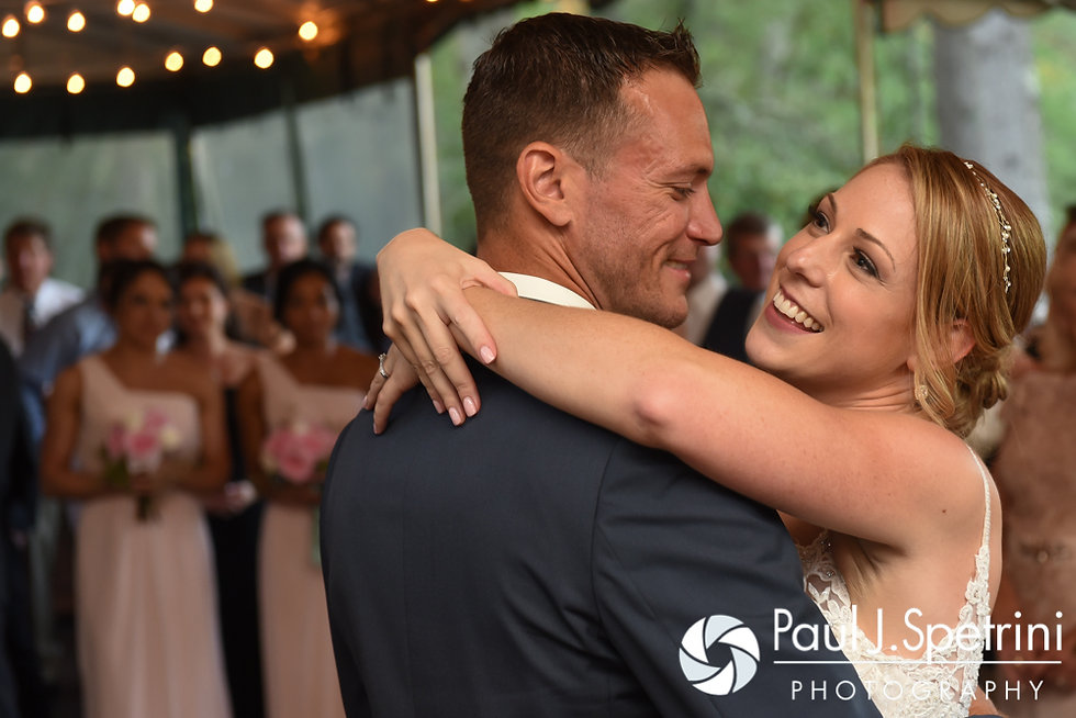 Kim and Matt share their first dance as husband and wife during their August 2016 wedding at Whispering Pines Conference Center in West Greenwich, Rhode Island.