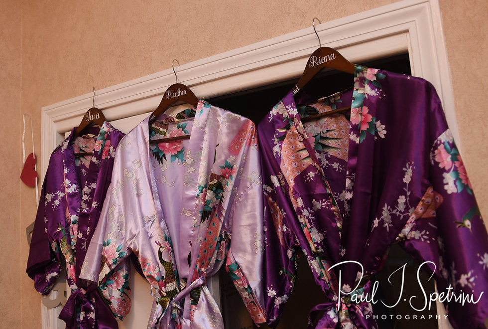 A look at Beth's bridesmaid's robes prior to her August 2018 wedding ceremony at Fort Phoenix in Fairhaven, Massachusetts.