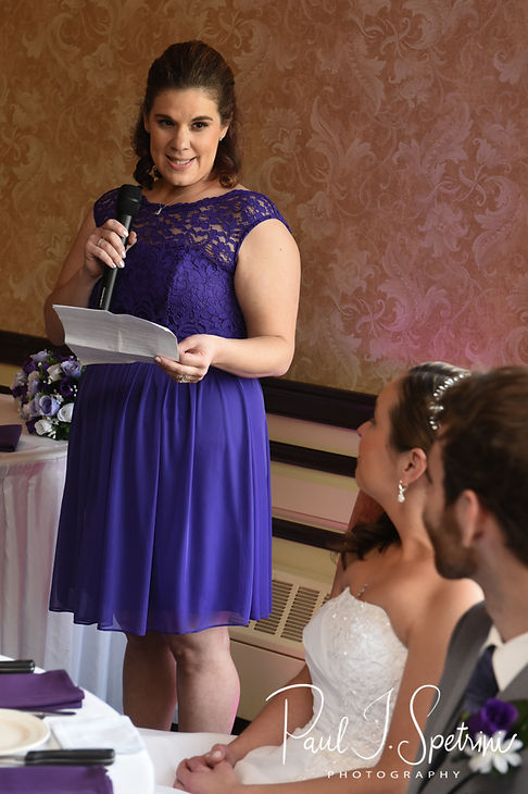 Katie's maid of honor gives a toast during Sam and Katie's April 2018 wedding reception at Quidnessett Country Club in North Kingstown, Rhode Island.