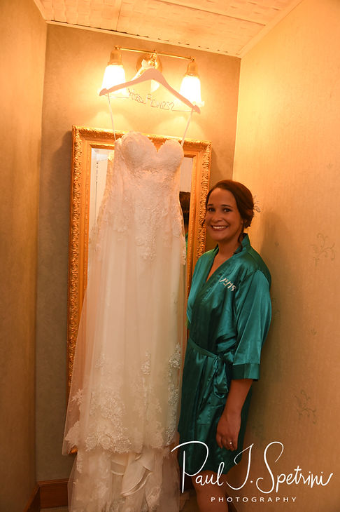 Danielle poses for a photo with her dress prior to her August 2018 wedding ceremony at the Roger Williams Park Casino in Providence, Rhode Island.