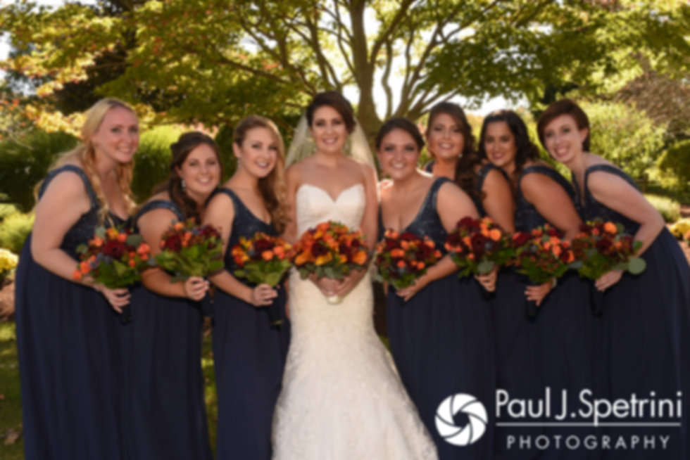Kristina poses for a photo with her bridal party prior to her October 2017 wedding ceremony at the Villa Ridder Country Club in East Bridgewater, Massachusetts.