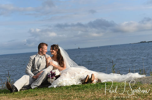 Beth & Bryan pose for a formal photo following their August 2018 wedding ceremony at Fort Phoenix in Fairhaven, Massachusetts.