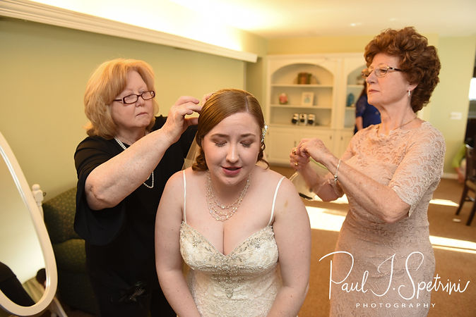 Kaytii has her veil put on prior to her May 2018 wedding ceremony at Meadowbrook Inn in Charlestown, Rhode Island.