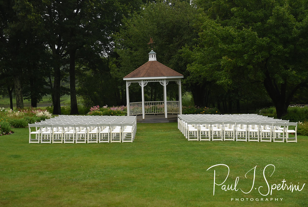 A look at the ceremony site prior to Laura & Marijke's June 2018 wedding ceremony at Independence Harbor in Assonet, Massachusetts.
