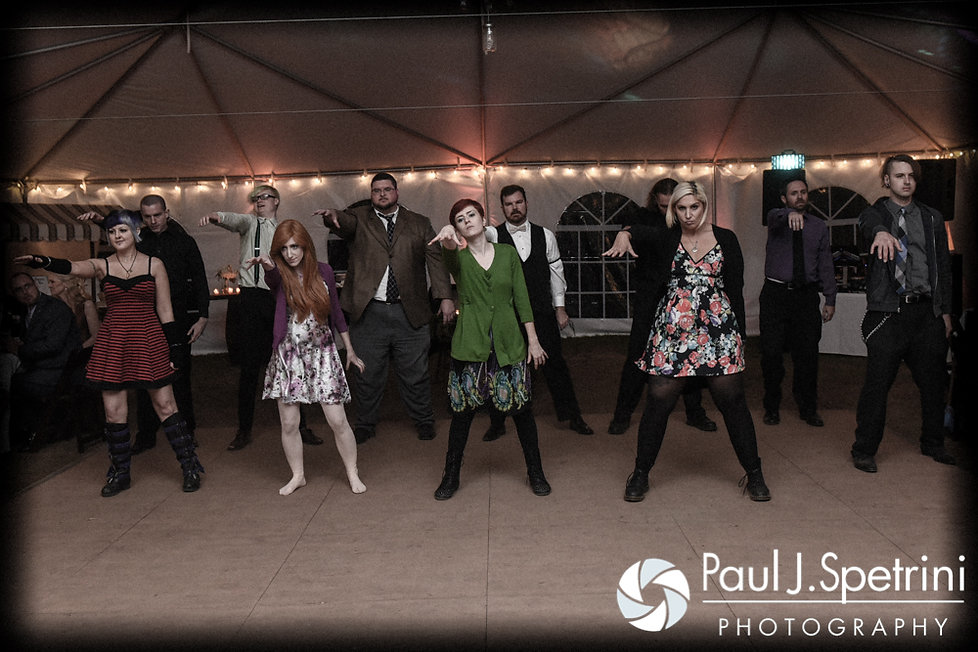 "JD and his theater group perform ""Thriller"" during his October 2016 wedding reception at The Farm at SummitWynds in Jefferson, Massachusetts."