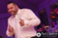 Henry gives the thumbs up during his October 2016 wedding reception at Lake Pearl Luciano's in Wrentham, Massachusetts.