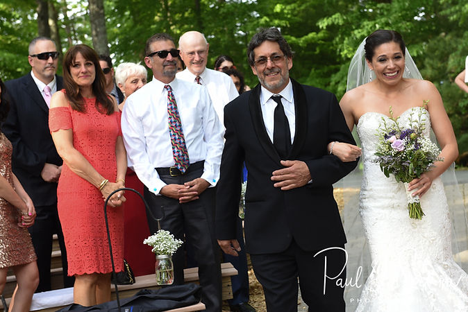 Kendra walks down the aisle with her father during her May 2018 wedding ceremony at Crystal Lake Golf Club in Mapleville, Rhode Island.