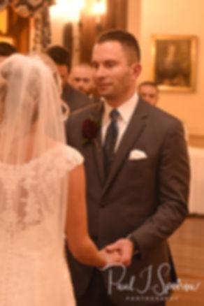 Kurt looks at Nicole during his November 2018 wedding ceremony at the Publick House Historic Inn in Sturbridge, Massachusetts.