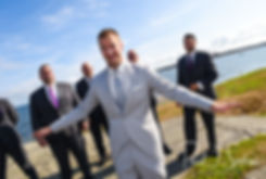 Bryan laughsprior to his August 2018 wedding ceremony at Fort Phoenix in Fairhaven, Massachusetts.