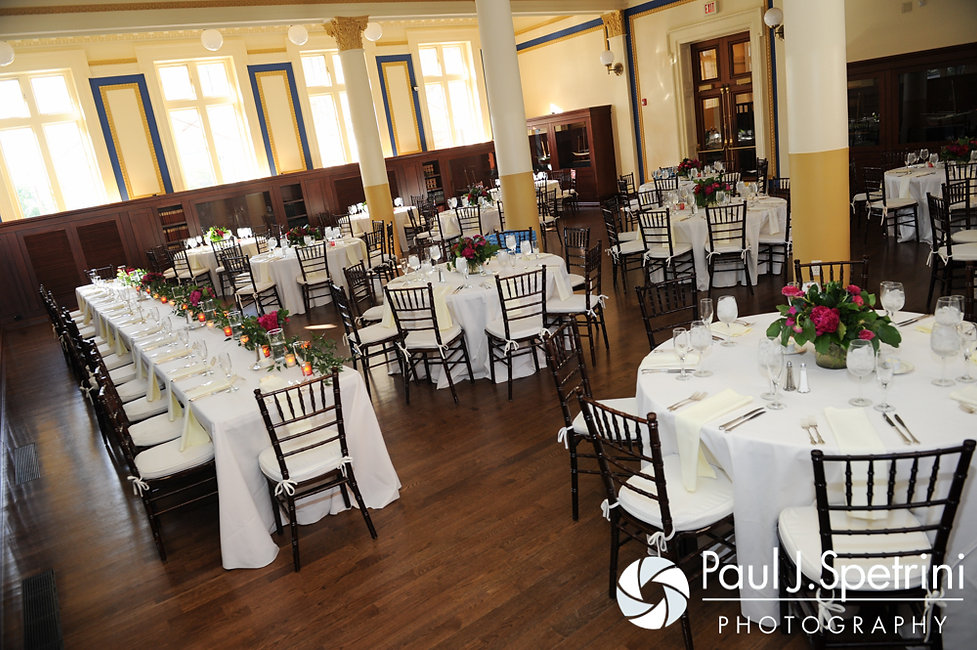 A look at the dining room in the Providence Public Library during Dan and Simonne's June 2016 wedding in Providence, Rhode Island.