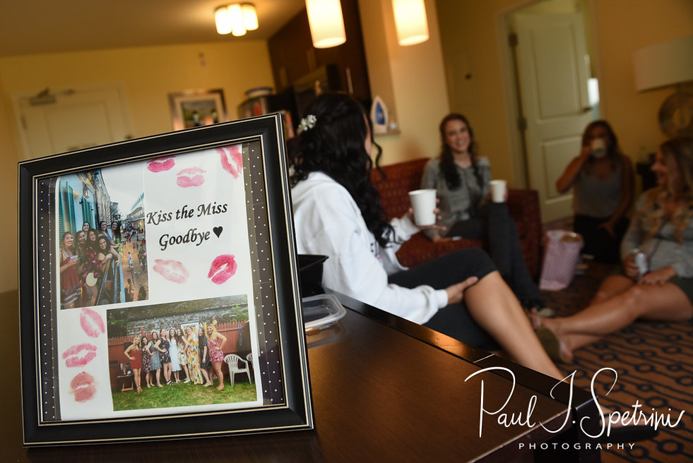 Nicole and her bridesmaids spend time together prior to her September 2018 wedding ceremony at The Towers in Narragansett, Rhode Island.