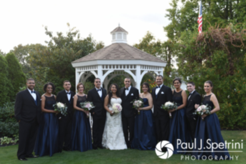 Stephany and Arten pose for a photo with their wedding party following their September 2017 wedding ceremony at Wannamoisett Country Club in Rumford, Rhode Island.