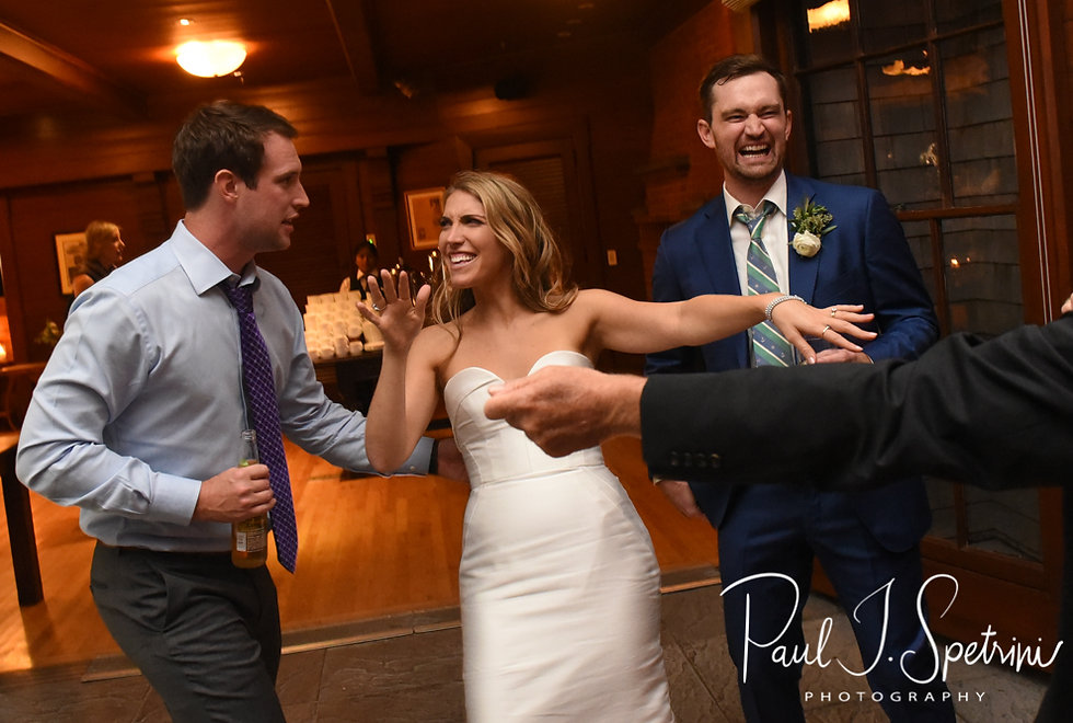 David and Whitney dance with guests during their October 2018 wedding ceremony at Castle Hill Inn in Newport, Rhode Island.