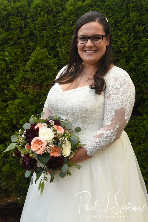 Katie poses for a bridal photo prior to her October 2018 wedding ceremony at The Villa at Ridder Country Club in East Bridgewater, Massachusetts.