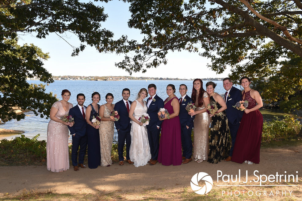 Mike and Rachel pose for a formal photo with their wedding party prior to their October 2017 wedding ceremony at Castle Manor Inn in Gloucester, Massachusetts.