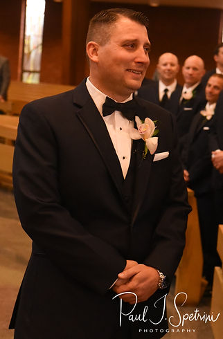 Brian reacts to seeing Meghan during his September 2018 wedding ceremony at Immaculate Conception Church in Cranston, Rhode Island.