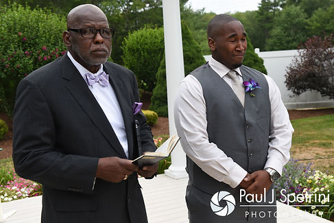 Warren reacts to seeing Kemi for the first time during their August 2016 wedding reception at the Villa at Riddler Country Club in East Bridgewater, Massachusetts.