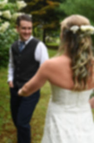 Josh reacts to seeing Kim for the first time prior to his September 2018 wedding ceremony at their home in Coventry, Rhode Island.